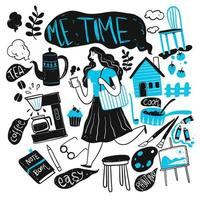 handgezeichnete Frau mit Gegenständen des täglichen Lebens