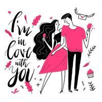hand dras i kärlek par med glass vektor