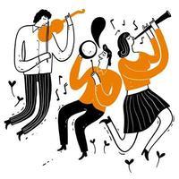 Musiker spielen Geigen, Klarinette, Trommel