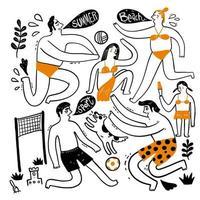 sommarsamling av handritade människor