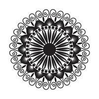 schwarzes Mandala mit Blumenstil