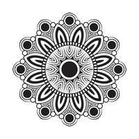Mandala mit weißen und schwarzen Blumen