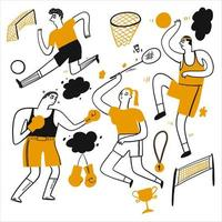Hand gezeichnete Leute, die Fußball, Basketball und mehr spielen