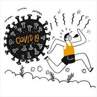 handritad man springer bort från covid-19