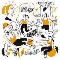 Hand gezeichnete Leute, die Fitness-Aktivitäten machen