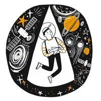 Hand gezeichneter Junge, der von Sternen und Raum träumt