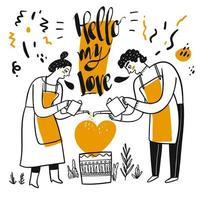 Hand gezeichnetes glückliches Paar, das Herzpflanze wässert vektor
