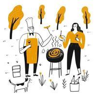 Hand gezeichnetes Paar, das draußen grillt vektor