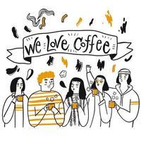 handritad grupp vänner dirnking kaffe vektor