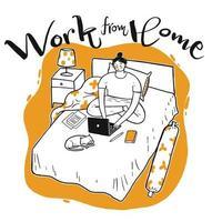 Hand gezeichnete Frau, die im Bett arbeitet