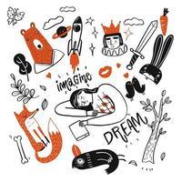 Hand gezeichnete Mädchen schlafen und Traumelemente vektor