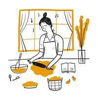 Hand gezeichnete Frau, die Teig rollt vektor