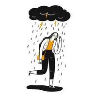 handritad sorglig kvinna under molnet vektor