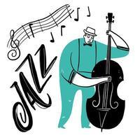 hand ritning man spelar jazzmusik vektor