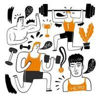 handritade karaktärer lyfta vikter