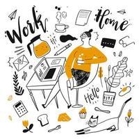 Hand gezeichnete Arbeit von zu Hause Frau und Elemente