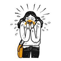 handgezeichnetes krankes Mädchen niest vektor
