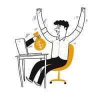 handritad lycklig man som tar emot pengar från bärbar dator