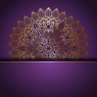 elegantes goldenes Mandala-Design auf lila vektor