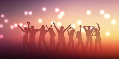 Banner-Design mit Silhouetten von Menschen tanzen