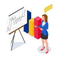 affärskvinna som gör presentation med 3d-diagram vektor