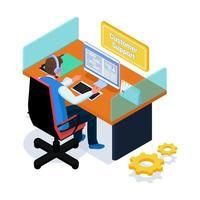 kundsupport chatta med klienter på datorn vektor
