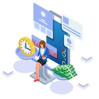 Geschäftsfrau, die ihre Inhalte verwaltet, um Geld zu bekommen