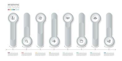 silver 3d lång cirkel etikett infographic vektor