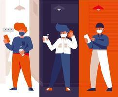 Gruppe von Mitarbeitern an Telefonen, die von zu Hause aus arbeiten vektor