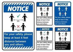 Halten Sie 6 Fuß Abstand Schild gesetzt
