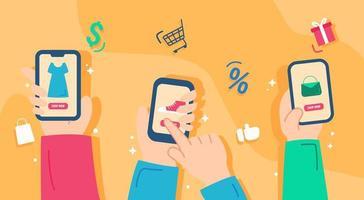design av e-handel smarttelefon vektor