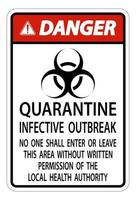 """rotes, schwarzes Schild """"Gefahr Quarantäne infektiöser Ausbruch"""""""