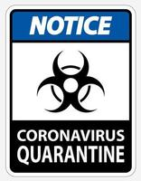 "blaues, schwarzes Hinweisschild ""Coronavirus-Quarantäne"" vektor"