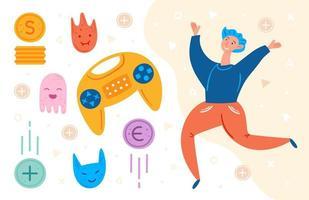 männlicher Videospieler, der mit Spielgegenständen springt