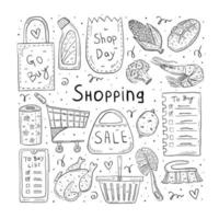 Einkaufs handgezeichnete Lebensmittel Artikel Kritzeleien vektor