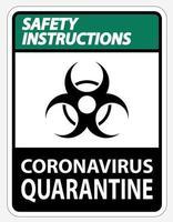 Sicherheitshinweise für die Coronavirus-Quarantäne vektor
