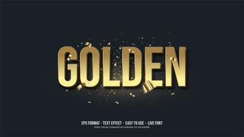 goldener Texteffekt mit 3D-Schrift in Gold. vektor