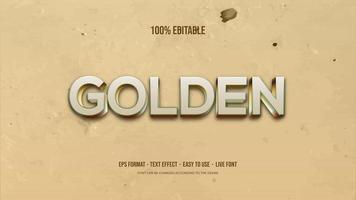 texteffekt med silver- och guld 3d-skrivning vektor