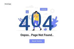 404 underhållsfel landningssida vektor