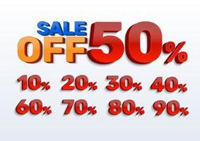 Verkauf und Prozentsatz für Werbung festgelegt vektor