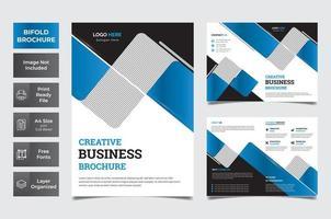 blaue, weiße und schwarze Bifold-Unternehmensbroschüre