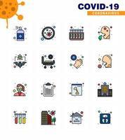 färgglada coronavirus icon pack inklusive sjukhus