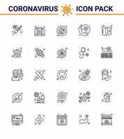 linje stil coronavirus ikon paket inklusive provrör