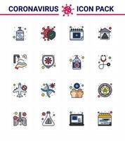 färgglada coronavirus-ikonpaket inklusive kalender