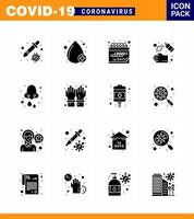 solid svart coronavirus 16 ikonpaket