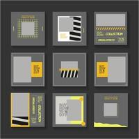 graue, gelbe und schwarze Social-Media-Post-Set