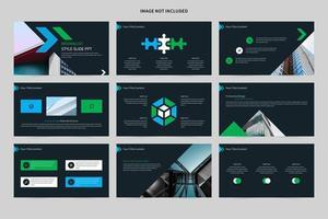 minimalistisk blå och grön bildspel vektor