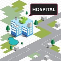 isometrisches Krankenhausgebäude vektor
