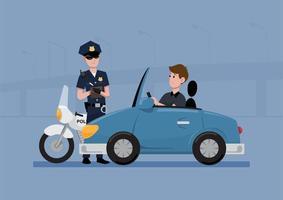 polis som skriver en biljett