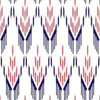rött och blått etniskt tygmönster på vitt vektor